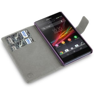 Covert PU Leather Wallet Case for Sony Xperia Z, Purple - 並行輸入品
