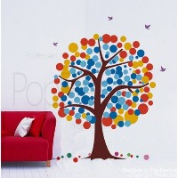 PopDecors - Polka Dot Tree - 71in H - (Orange, Yellow and Blues) removable vinyl art wall decals...