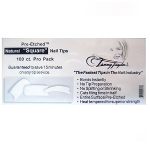 Tammy Taylor Nail Tips - Pre-Etched Natural Square Tips - 100ct