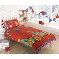 Rudolph Reindeer Christmas Kids Presents Stars Quilt Duvet Cover and Pillowcase Bedding Bed Set,...