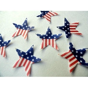 24 VERY SMALL American Flag Stars Patriotic INDEPENDENCE DAY 4TH FOURTH OF JULY 0.75 Decorative...