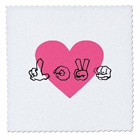 TNMGraphics Love – Sign Language Love withピンクハート – キルト正方形 12x12 inch quilt square qs_23476_4