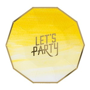 Fire and Creme Let 's Party Foiled Paper Plates – 8のパック S
