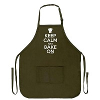 Keep Calm and Bake On面白いエプロンforキッチンBaker Baking 2つポケットエプロン女性と男性用