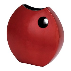 Deco 79 Ceramic Lacquer Vase, 14 by 14-Inch, Red [並行輸入品]