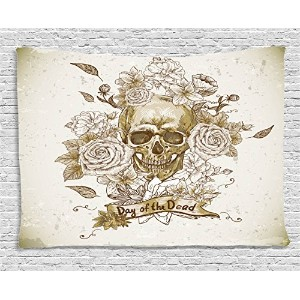 Skulls Decorationsタペストリー壁吊りby Ambesonne、Skull with Roses Day of the Dead SignホラーMexican従来アート印刷...