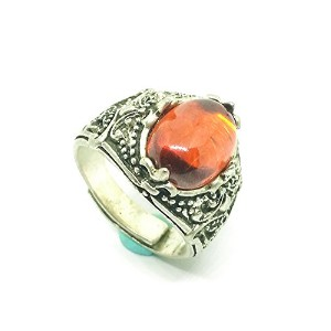 Natural Red Zircon Gemstone Sterling Silver Women Ring