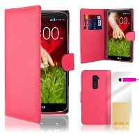 32ndテつョ Book wallet PU leather case cover for Google LG G2 (D800) + screen protector and cloth -...