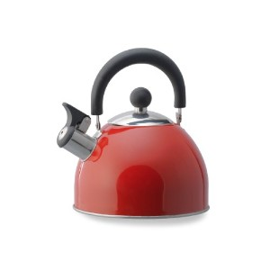 Kamenstein Whistle Tea Kettle (Stainless Steel, 2-Quart, Red) by Kamenstein
