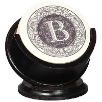 Thirstystone TSMB-H13 4 Piece Monogram Coaster Set with Pedestal Holder, Multicolor by Thirstystone