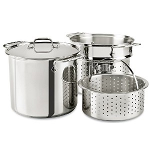 All-Clad E9078064 Stainless Steel Multicooker with Perforated Steel Insert and Steamer Basket, 8...