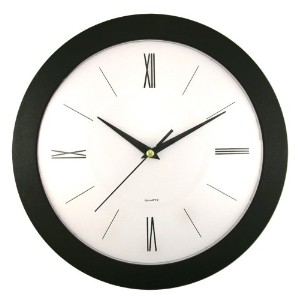 12IN ROUND WALL CLOCK BLK
