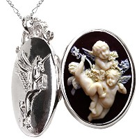 ユニコーンの写真ネックレス Unicorn Locket Necklace Photo Pendant Heart Case for Gift (Baby Angels)