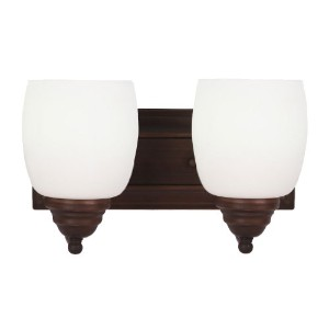 Whitfield vl25 – 2orb Shantal 11.5-inch two-light Vanity , Oil Rubbed Bronze withホワイトガラス