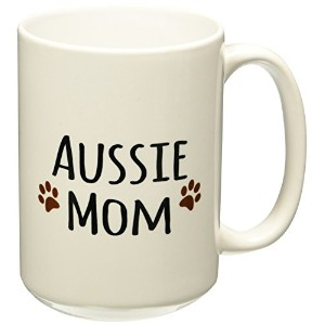 3dローズInspirationzStoreペットデザイン – Aussie Dog Mom – Australian Shepherd Doggie by BreedブラウンMuddy Paw Prints犬愛好家Mama Love – マグカップ 15-oz ホワイト mug_154059_2