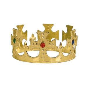 Beistle 60250-GD 12-Pack Gold Plastic Jeweled King's Crown by Beistle