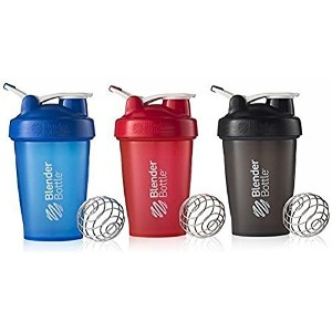 BlenderBottle 20oz Classic Loop Top Shaker Bottle 3-Pack, Full Color Blue/Black/Red by Blender Bottle
