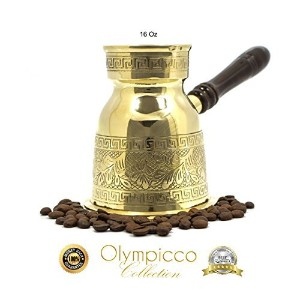Greek Turkish Coffee Pot Solid Brass 3mm - Handmade Elegant Patterns with Coffee Flowers and Greek...