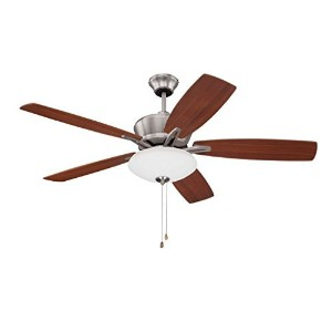 "Litex E-KA52BNK5C Kala 52"" Brushed Nickel Ceiling Fan with Five Reversible Maple/Dark Walnut Fan..."
