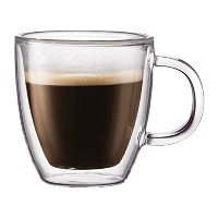 Bodum Bistro–Double Wall Thermoガラスエスプレッソマグ–For Hot And Cold Drinks–透明–Pack of 2–0.15l、5oz