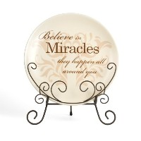 Simply Stated by Pavilion 8-Inch Plate with Metal Scroll Stand, Miracles Sentiment [並行輸入品]