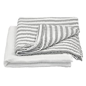 green sprouts Muslin Swaddle Blankets made from Organic Cotton,Gray Set