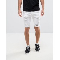 【送料無料】11 Degrees Super Skinny スキニー Shorts ショーツ In White With Distressing
