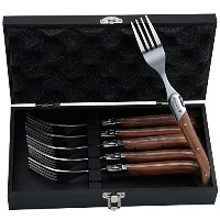 FlyingColors Laguiole Stainless Steel Fork Set, Rose Wood Handle, Wooden Gift Box, 6 Pieces by...