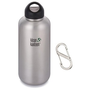 Klean Kanteen 64 oz Wide Mouth Bottle (Stainless Loop Cap and Carabiner) by Klean Kanteen