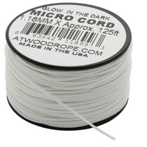 【 38m カット売り / 色:White 】 Glow-In-The-Dark Micro Cord アメリカ製 , Atwood Rope MFG社製 マイクロコード Glow(蓄光) 太さ...