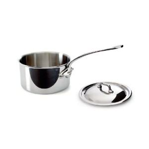 Mauviel M'Cook 5 Ply Stainless Steel 5210.15 1.3 Quart Saucepan with Lid, Cast Stainless Steel...