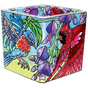 Amia 41596 Songbird Floral Hand-Painted 2-1/4-Inch Square Votive, Petite [並行輸入品]