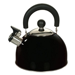 Euro-Ware 309-BK Stainless Steel Whistling Tea/Hot Water Kettle with Cool and Folding Handle, 2.5...