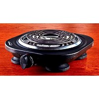 Uniware 1100W Portable Electric Cast Iron Burner, Perfect for all occasions, Black (Singer) [並行輸入品]