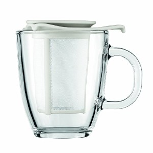 Bodum Yo-Yo Set Mug and Tea Strainer, 12-Ounce, Off-White [並行輸入品]