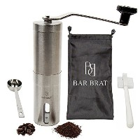 Hand Manual Coffee Grinder Maker by Bar Brat / Bonus Travel Bag, Coffee Spoon & Cleaning Brush /...