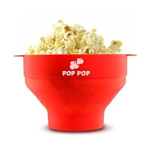 Easiest 2 Minute Microwave Popcorn Popper- Improved Collapsible Bowl with Cool Touch Handles-...