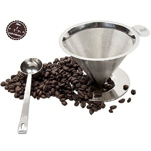 Pour Over Coffee Maker Dripper + Spoon by Bar Brat / Single Serve Premium 304 Stainless Steel...