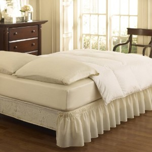 Easy Fit Ruffled Solid Bed Skirt, Queen/King, Ivory [並行輸入品]