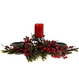 Melrose International Pine Laden with Red Berries 27-Inch Candle Centerpiece [並行輸入品]