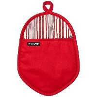 Farberware Kitchen Cooking Oval Pot Holder with Oven Mitt Pocket & Cotton Lining (1 Pack), Red...