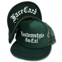 "KUSTOMSTYLE KSCP0905FLMESHOG ""OLD ENGLISH"" FLAT VISOR MESH CAP OLIVE GREEN"