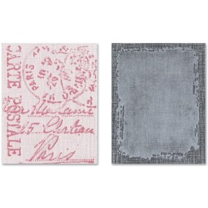 Sizzix Texture Fades A2 Embossing Folders 2/Pkg-Distressed Frame & Postal By Tim Holtz (並行輸入品)