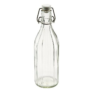 Leifheit Reusable Glass Bottle with Shackle Lock Stopper, Clear by Leifheit