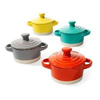 Creative Co-op Round Stoneware Mini Baker with Lid, 3-1/4-inch, 4 Colors by Creative Co-op