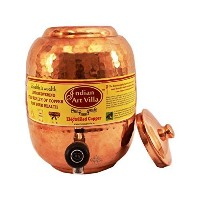 "IndianArtVilla 10.0"" X 5.2"" Handmade Best Quality 100% Pure Copper Capacity 5.5 Liter Water Pot..."