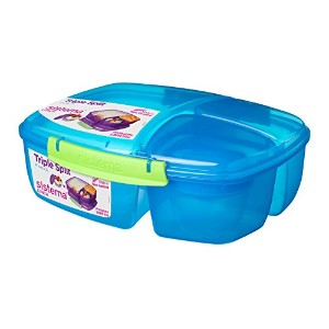 Sistema Lunch Collection Triple Split Lunch Box with Yogurt Pot Food Storage Container, 67.6 oz,...