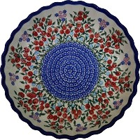 Polish Pottery Ceramika Boleslawiec 1212/282 Royal Blue Patterns 4-Cup 9-7/8-Inch Diameter Pie...