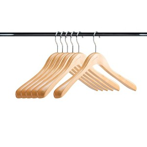 a1ハンガー天然木製ハンガー( Set of 6) Extra Thick Clothes Hangers forコートハンガーとスーツハンガー