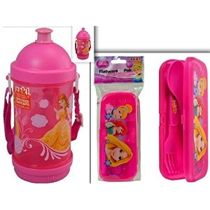 AdorableディズニープリンセスLunchtime、ダイニング、& Back to Schoolバンドル: 2items- BPAフリーsip-n-snack Canteen &...